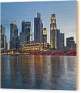 Singapore River Waterfront Skyline At Sunset Wood Print