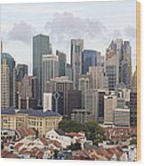 Singapore Skyline Along Chinatown Area Wood Print