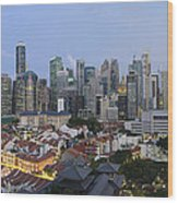 Singapore Skyline Along Chinatown Evening Wood Print