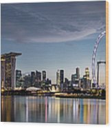 Singapore Skyline At Dusk Wood Print