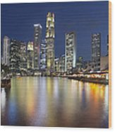 Singapore Skyline By Boat Quay Vertical Wood Print