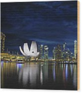 Singapore Skyline By River Waterfront At Dusk Wood Print