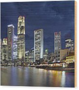 Singapore Skyline From Boat Quay Wood Print