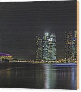 Singapore Skyline With Laser Light Show Wood Print