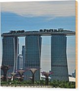 Singapore Skyline With Marina Bay Sands And Gardens By The Bay Supertrees Wood Print