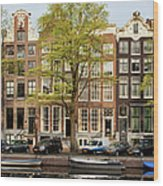 Singel Canal Houses In Amsterdam Wood Print