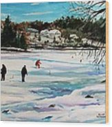 Singeltary Lake Ice Fishing Wood Print by Scott Nelson