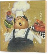 Singing Chef In Gold Wood Print