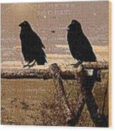 Singing Crows Wood Print