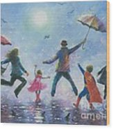Singing In The Rain Super Hero Kids Wood Print