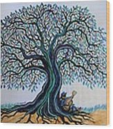 Singing Under The Blues Tree Wood Print