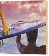 Single Fin Surfer Wood Print