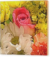 Single Rose Bouquet Wood Print