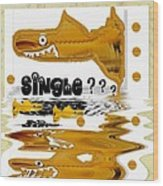 Single Shark Pop Art Wood Print by Pepita Selles
