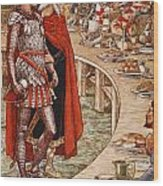 Sir Galahad Is Brought To The Court Of King Arthur Wood Print