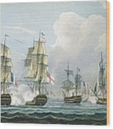 Sir Richard Strachans Action After The Battle Of Trafalgar Wood Print by Thomas Whitcombe