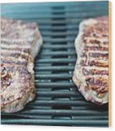 Sirloin Steak On The Barbecue Grill Wood Print