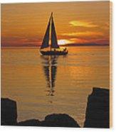 Sister Bay Sunset Sail 2 Wood Print