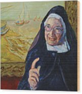 Sister Wendy Wood Print by Xueling Zou