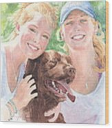 Sisters And Chocolate Lab In Sun Watercolor Portrait Wood Print