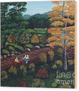 Sister's Autumn Stroll Wood Print