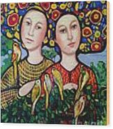 Sisters With Hats Wood Print