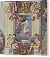 Sistine Chapel Ceiling 1508-12 The Creation Of Eve, 1510 Fresco Post Restoration Wood Print
