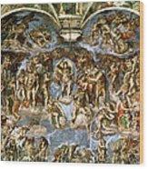 Sistine Chapel The Last Judgement, 1538-41 Fresco Pre-restoration Wood Print