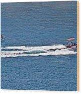 Sit Down Hydrofoil Ski Sport Wood Print