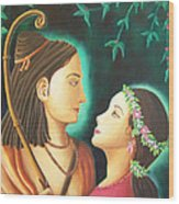 Sita Rama In The Forest Wood Print