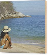 Sitting At The Beach Wood Print
