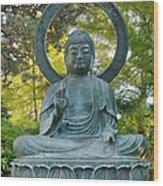 Sitting Bronze Buddha At San Francisco Japanese Garden Wood Print
