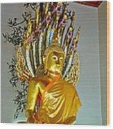 Sitting Buddha In Wat Po In Bangkok-thailand Wood Print