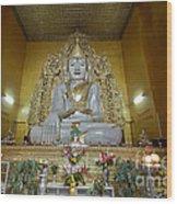 sitting Buddha made from one single marble block in KYAUKTAWGYI PAGODA Wood Print