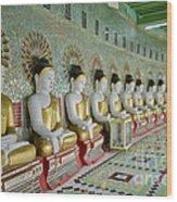 sitting Buddhas in Umin Thonze Pagoda Wood Print