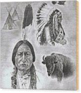 Sitting Bull Wood Print by Jessica Hallberg