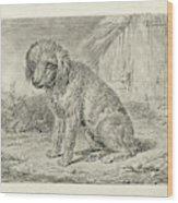 Sitting Dog In A Barn, Johannes Mock Wood Print