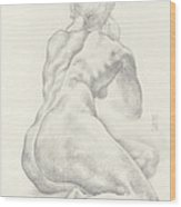 Sitting Female Nude In 4b Graphite With Twin Pony Tails Seen From Behind Looking Up To Her Left Wood Print