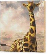 Sitting Giraffe Wood Print