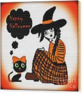 Sitting Halloween Witch Wood Print