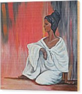 Sitting Lady In White Next To A Red Wall Wood Print