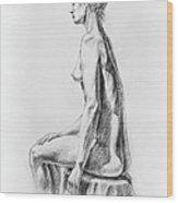 Sitting Woman Study Wood Print