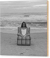 Sittinng On The Beach Wood Print by Thomas Leon