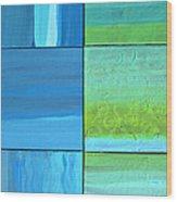 Six Blue Tiles Wood Print