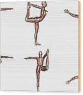 Six Different Views Of Dancer Yoga Pose Wood Print