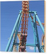 Six Flags America - Two-face Roller Coaster - 12124 Wood Print