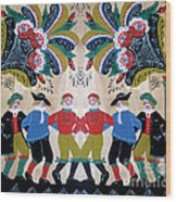Six Men Dancing Wood Print