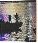 Six On A Boat Wood Print