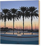 Six Palms Wood Print