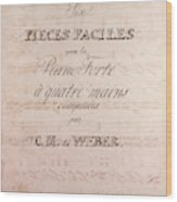 Six Pieces Faciles Pour Le Piano Forte A Quatre Main Wood Print